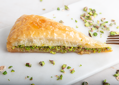baklava with pistachio (carrot slices)